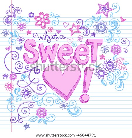 Hand-Drawn Sweetheart Letting and Flowers Sketchy Notebook Doodles Design Elements on Lined Paper Background- Vector Illustration - stock vector