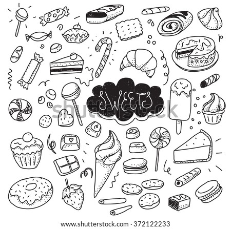 Hand drawn sweets and candies set. Ice cream, cake, donut, etc. Vector doodles. Isolated desserts on white background. Black and white.  Hipster style