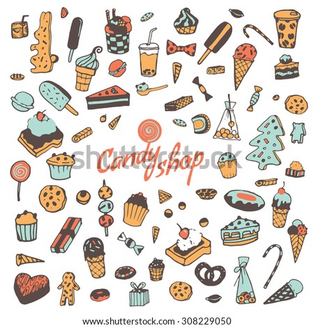 Hand drawn sweets, candy, cakes, lollipop, sweetmeats, gingerbread, ice cream. Vintage elements for confectionery, sweet-shop, pastry-shop. - stock vector