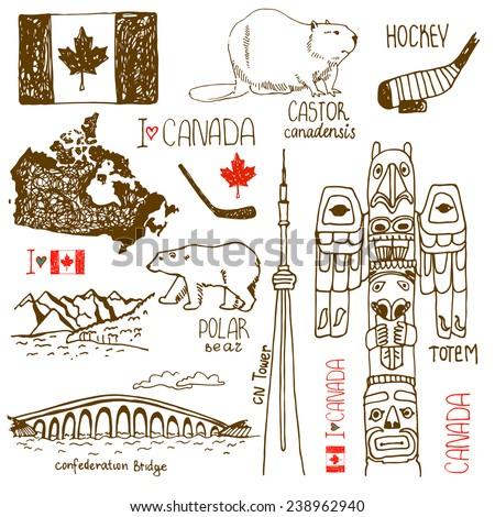 Hand Drawn Symbols Canada Castor Confederation Stock Vector 2018