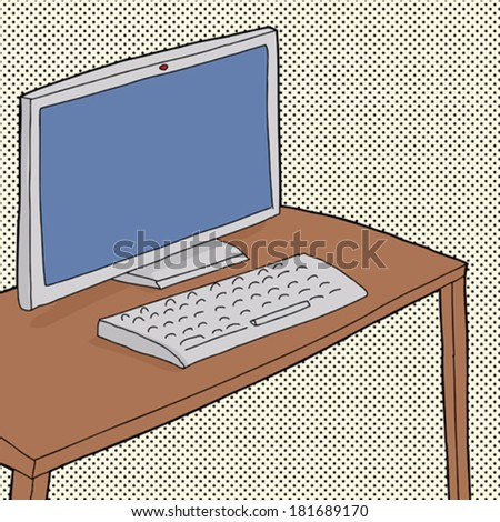 Hand drawn table with computer on dotted background - stock vector