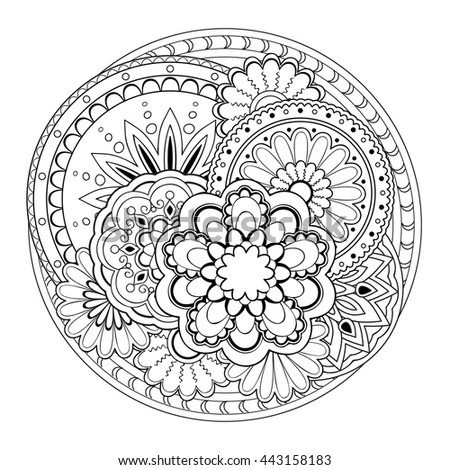 Hand drawn tangled mandalas. Image for  decorate  porcelain, ceramics, crockery, plates. eps 10