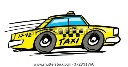 Hand drawn taxi car. Vector illustration - stock vector