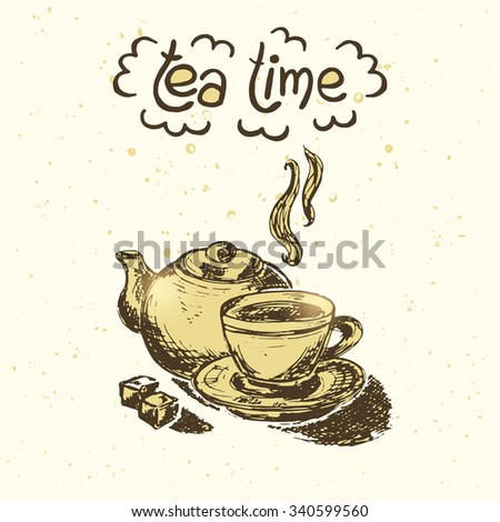 Hand drawn tea illustration. Vector card.