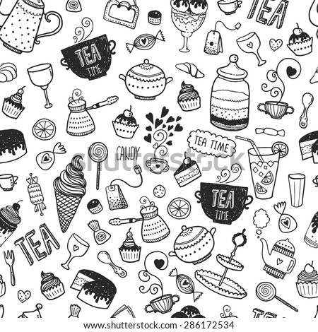 Hand drawn tea time background, vector doodle pattern with teapots, glass, cupcake, decoration, tea, icecream, cup and sweets