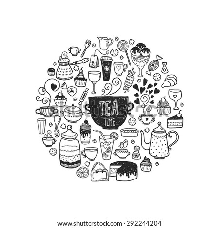 Hand drawn tea time illustration, vector doodle set with teapots, glass, cupcake, decoration, tea, ice cream, cup and sweets of a circle - stock vector