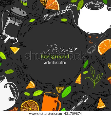 Hand drawn tea time image in artistic style. Vector editable illustration on dark gray background. White ceramic teapot, french press, mugs and spoons, tea leaves. Menu element for cafe or restaurant - stock vector
