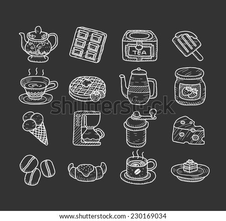 Hand drawn teatime icons