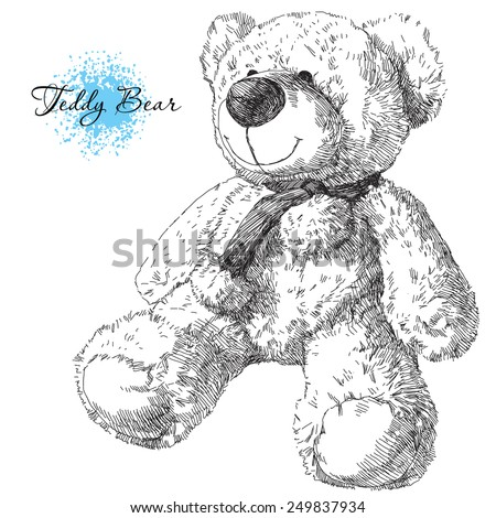 hand drawn teddy bear - stock vector
