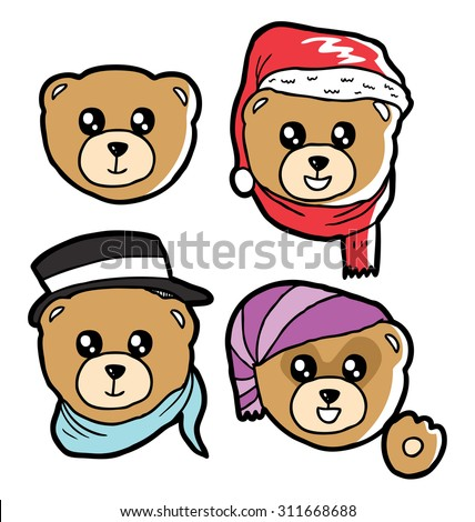 hand drawn teddy bear head - stock vector
