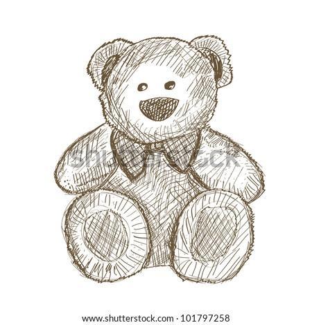 Sitting Bear Drawing Hand Drawn Teddy Bear Isolated