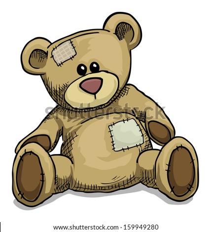 Hand drawn teddy bear isolated on white, vector illustration - stock vector