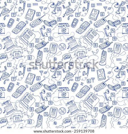 hand drawn telephones seamless pattern. - stock vector