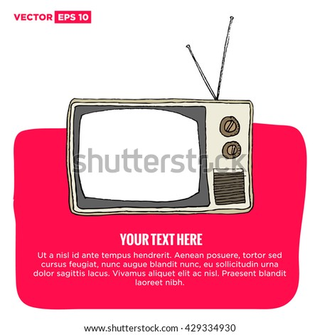Hand Drawn Television Vector Illustration Poster Textbox Template Design