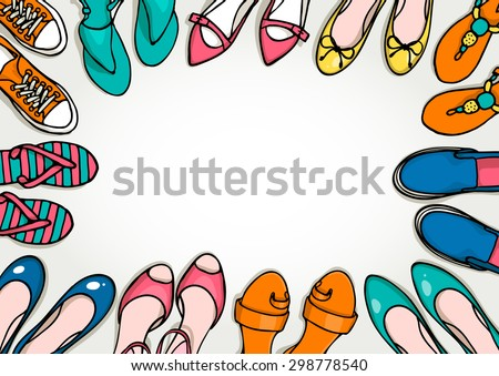 Hand drawn template with woman shoes set. Vector top view objects illustrations. Spring-summer fashion collection. Doodle sketch background for shoes shop. - stock vector