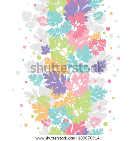 Hand  drawn tender leaves vertical seamless border. All objects are conveniently grouped and are easily editable. - stock vector
