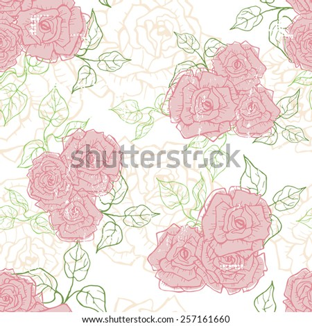 Hand drawn tender vintage  roses seamless pattern  . All objects are conveniently grouped  and are easily editable.