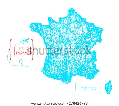 Hand drawn territory, a map of France. Time to travel. Illustration of the country for advertising, travel agencies, booklets. - stock vector