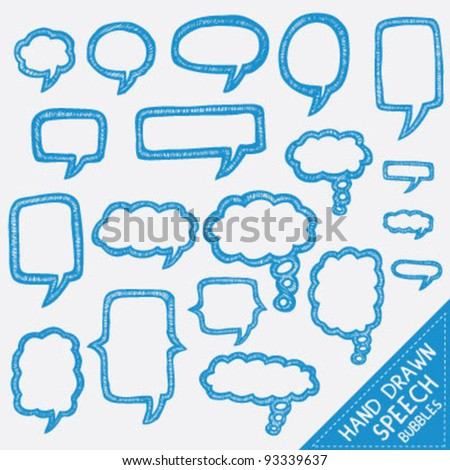 Hand drawn text bubbles - stock vector