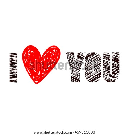 hand-drawn text I LOVE YOU with heart