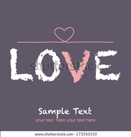 Hand drawn text lettering of love - stock vector