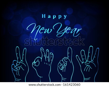 Hand drawn 2014 text written on shining colored background for New Year