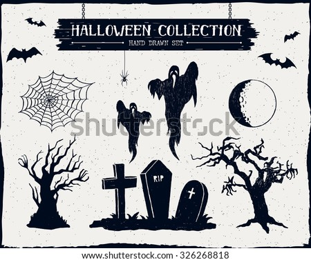 Hand drawn textured Halloween set of graveyard, ghosts, dead trees, full moon, and spiderweb illustrations. - stock vector