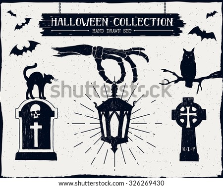 Hand drawn textured Halloween set of tombstones, owl, black cat, lantern, and bats illustrations. - stock vector