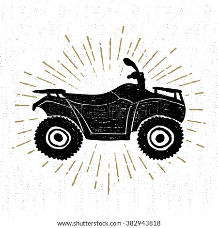 Hand drawn textured icon with quad bike vector illustration. - stock vector