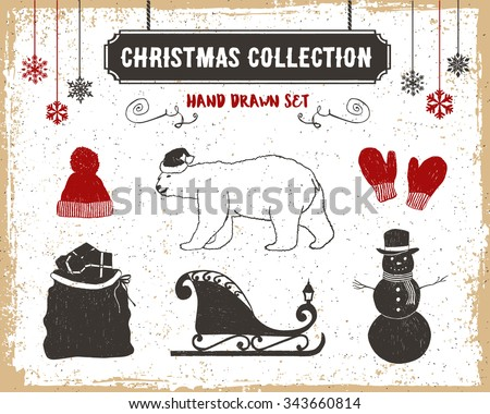 Hand drawn textured vintage Christmas icons set with knitted hat, polar bear, mittens, Santa's sack, sleigh, and a snowman vector illustrations. - stock vector