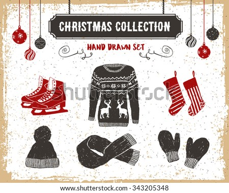 Hand drawn textured vintage Christmas icons set with sweater, ice skates, Christmas stockings, scarf, knitted cap, and mittens vector illustrations. - stock vector