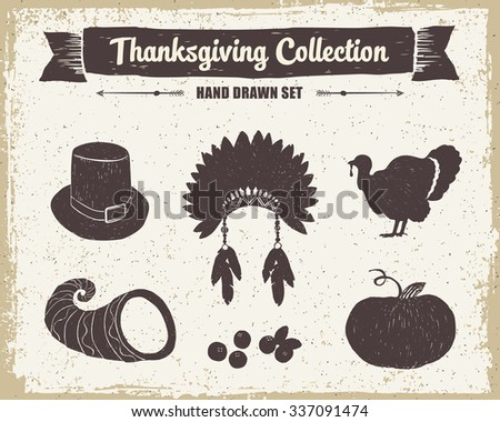 Hand drawn textured vintage Thanksgiving set of pilgrim hat, Indian head piece, turkey, cornucopia, cranberries, and pumpkin vector illustrations. - stock vector