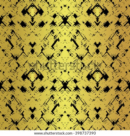 Hand drawn textured wallpaper in golden colors on black isolated background in vector. Grunge background. Hand drawn seamless art pattern. Modern graphic design. Modern creative textured pattern  - stock vector