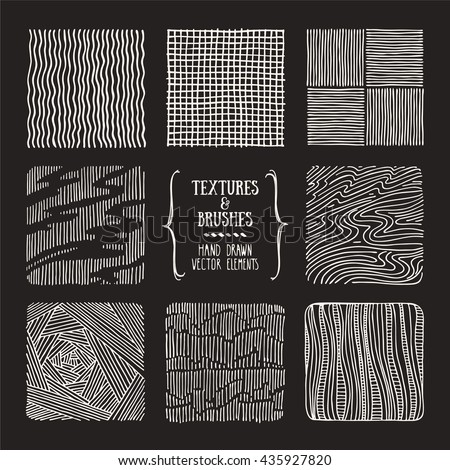 Hand drawn textures and brushes. Artistic collection of design elements: brush strokes, paint dabs, wavy lines, abstract backgrounds, hatch patterns made with ink. Isolated vector. - stock vector