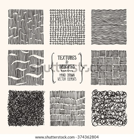 Hand drawn textures and brushes. Artistic collection of design elements: bubbles, brush strokes, wavy lines, abstract backgrounds made with ink. Isolated vector. - stock vector