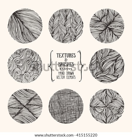 Hand drawn textures and brushes. Artistic collection of design elements: bubbles, brush strokes, wavy lines, abstract backgrounds, natural pattern made with ink. Isolated vector.