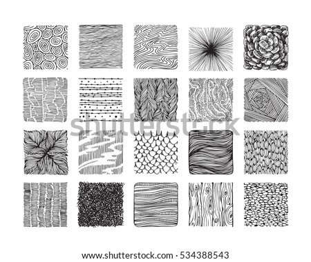 Hand Drawn Textures Brushes Big Artistic Stock Vector