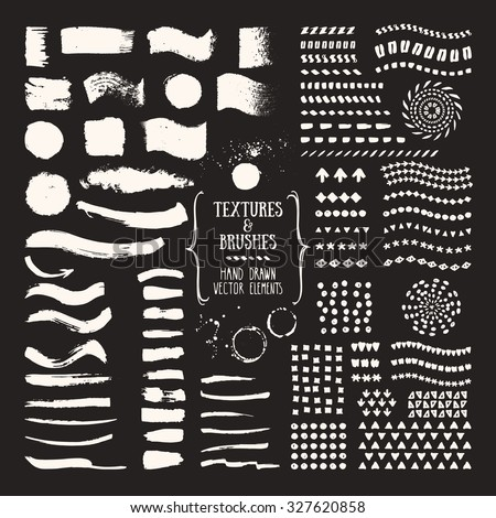 Hand drawn textures and brushes. Collections of design elements: brush strokes, patterns, splatters made with ink. Pattern brushes are included in EPS. Isolated vector illustration. - stock vector