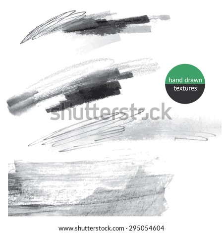 Hand Drawn textures, expressive pen, ink, black and white graphic - stock vector