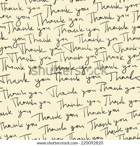 "Hand-drawn ""Thank you"" seamless pattern. Vector - stock vector"