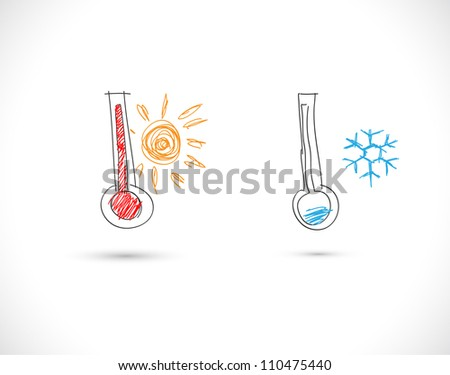 Hand drawn thermometers - stock vector