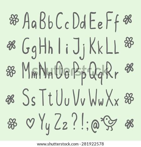 Hand drawn thin alphabet. Sans-serif handwritten sketchy font - stock vector