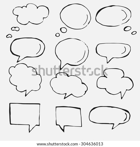 Hand drawn thought and speech bubbles and balloons. Blank empty white speech bubbles. Speech bubble icons. Think cloud symbols. Sketch hand drawn bubble speech. Vector dream bubbles.