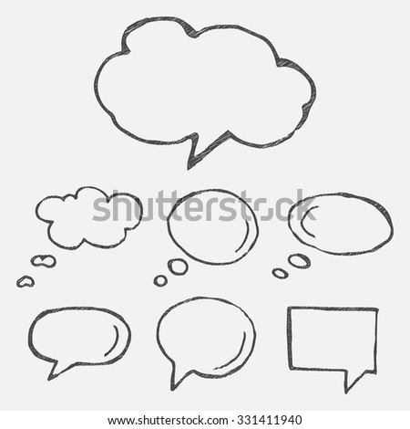 Hand drawn thought and speech bubbles and balloons. Blank empty white speech bubbles. Speech bubble icons. Think cloud symbols. Sketch hand drawn bubble speech. Vector dream bubbles. - stock vector