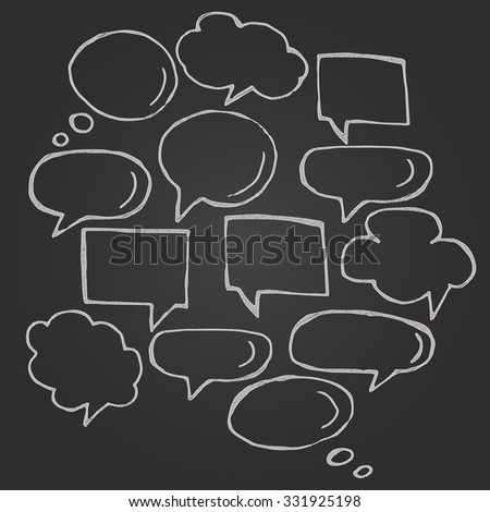Hand drawn thought and speech bubbles and balloons. Blank empty white speech bubbles. Speech bubble icons on chalkboard. Think cloud symbols. Sketch hand drawn bubble speech.  - stock vector
