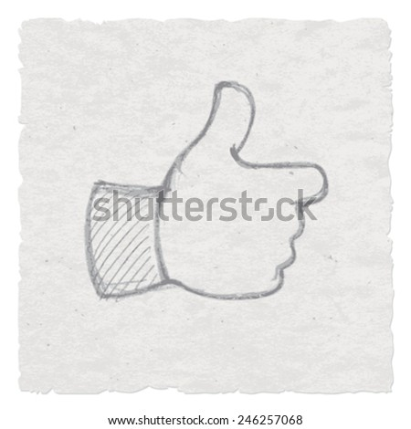 Hand-drawn thumb symbol. Vector illustration. - stock vector