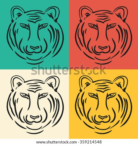 Hand drawn tiger head. Modern design. Can be used for banner, poster, logo. Vector illustration - stock vector