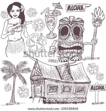 Hand drawn Tiki set - stock vector