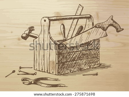 Hand drawn toolbox with different tools -  nails, hammer, saw, ruler, box, plier. Tools on a wooden background. Vector illustration on wooden background. - stock vector