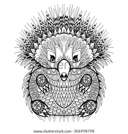 Hand drawn Totem Echidna, Australian animal illustration for anti stress adult Coloring Page with high details isolated on white background, in zentangle style. Vector monochrome sketch. - stock vector
